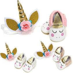 Toddler Baby Girls Unicorn Shoes + Headband Birthday Costume
