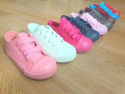 Toddler girls boys laces up canvas sneakers tennis shoes 7-1
