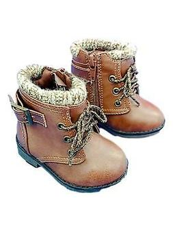 Toddler Girls Brown Moto Buckle Knit Trimmed Boots Baby Shoe