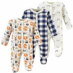 Hudson Baby Unisex Baby Preemie Sleep and Play, Forest 3-pac