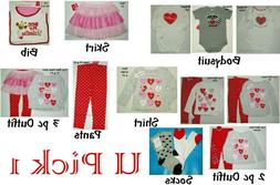Valentines Day 1st Outfit Holiday Heart Bodysuit Shirt Pants