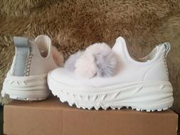 UGG WHITE FASHION BABY DOTS RUNNER SNEAKERS SHOES, WOMEN'S S